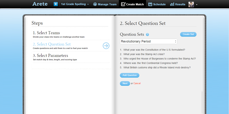Select Question Set page